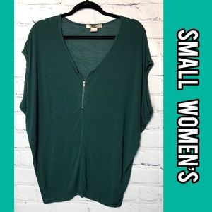 Oversized deep teal green short sleeve top